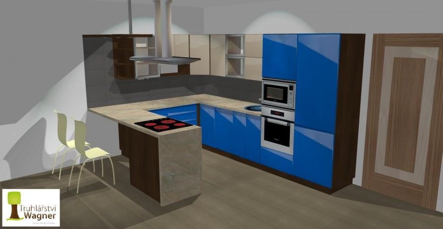 Kuchyň modrá