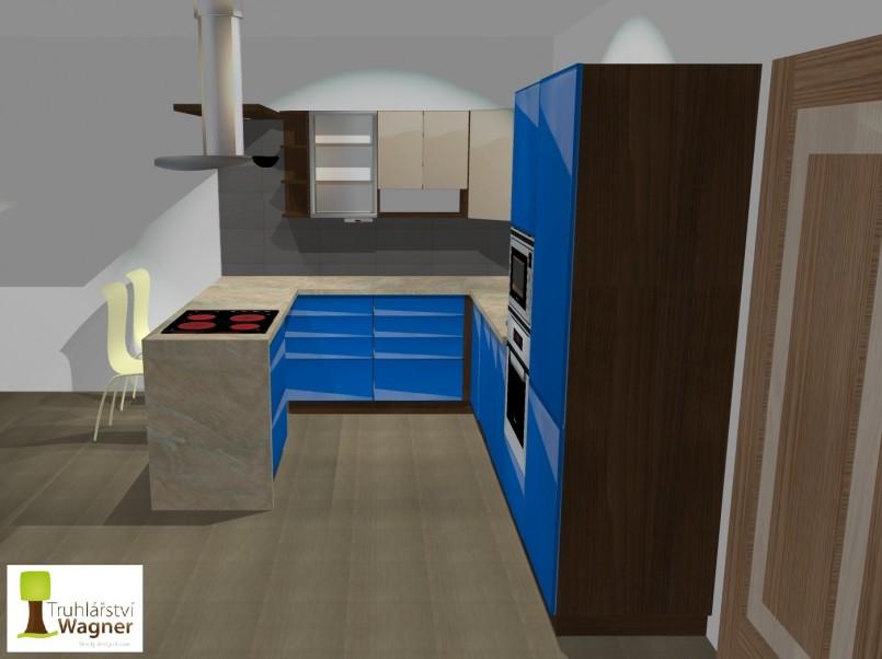 Kuchyň modrá 2