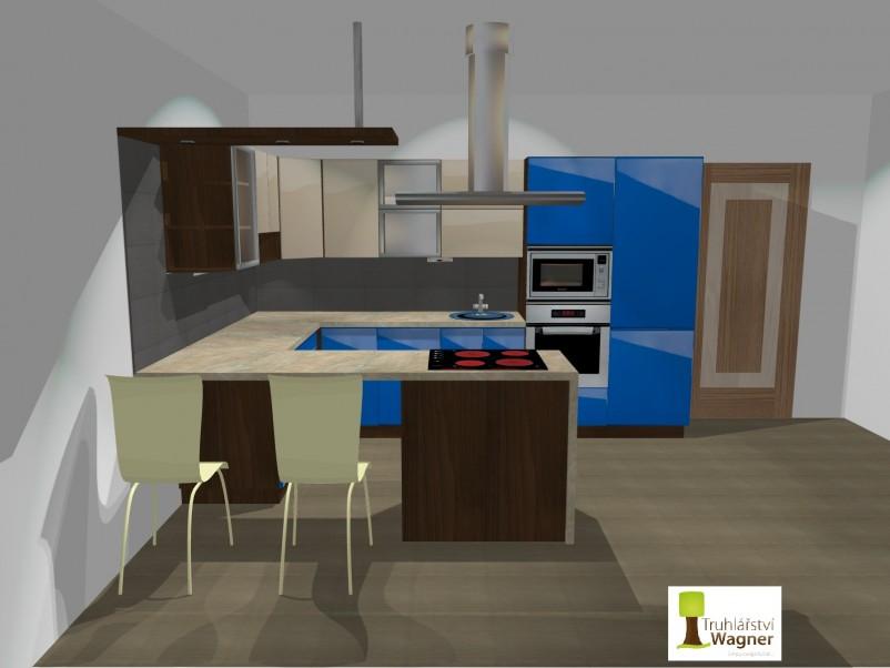 Kuchyň modrá 3