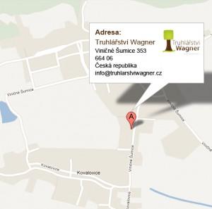 Mapa sídla truhlářství Wagner